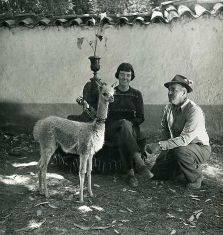 Silvia and Victor von Hagen with vicuña